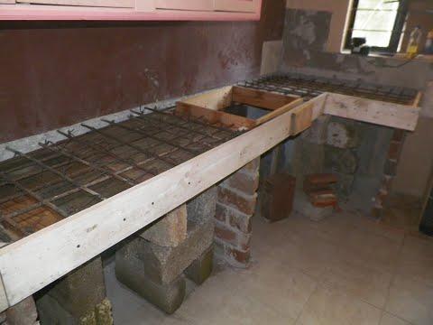 Barra de cocina en porcelanato y cemento empotrada for Piso de concreto cera cocina