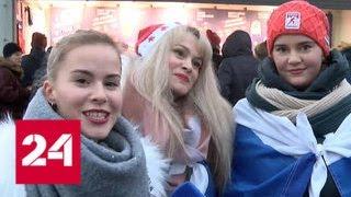 Россияне играют в хоккей с финнами на футбольной арене