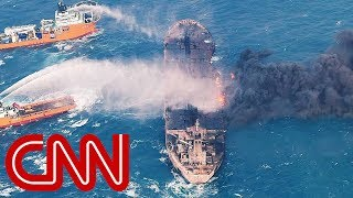 Burning oil tanker sinks in the East China Sea - CNN