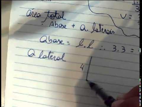 piramide de base quadrada, volume e area total