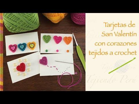 Tarjetas de San Valentín con corazones tejidos a crochet  / Crochet Valentine's day card