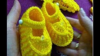 1-Пинетки туфельки крючком для новорожденного.Crochet and knitting(hobby)
