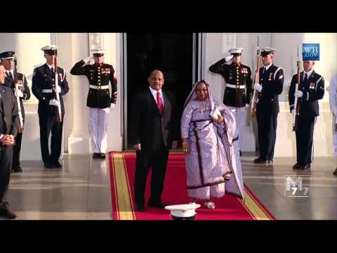 Comoros President Ikililou Dhoinine and spouse Hadidja I'Dhoinine arrive at the White House Diner