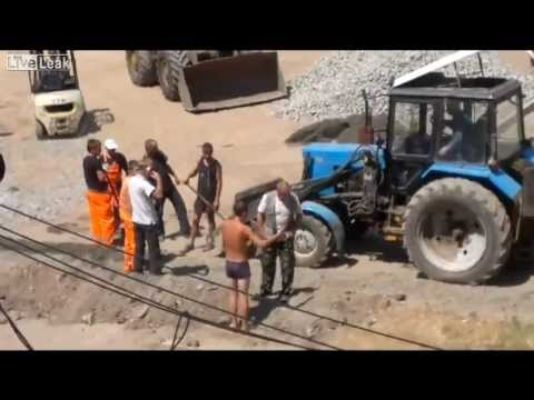 Dude with a shovel beats his friends