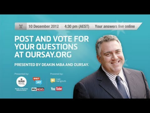 Hangout with Shadow Treasurer, Joe Hockey - Monday, 10th December 2012