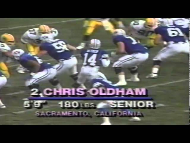 Oregon Cb Chris Oldham intercepts a pass vs. BYU 11-04-1989