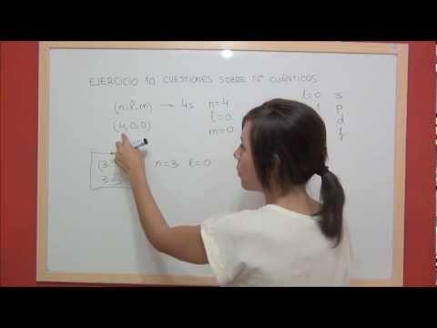 QUIMICA Ejercicio 10 Estructura atómica - Números cuánticos de algunos orbitales atómicos