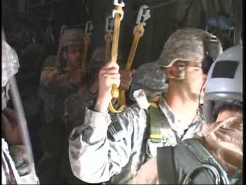Paratrooper Makes His First Jump in Iraq Footage of the 82nd Airborne's first advise and assist brigade in Iraq who assist Iraqi counterparts in para- trooping. Scenes include various paratroopers i...