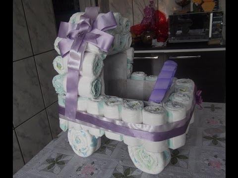 Como fazer carrinho de fraldas para chá de bebe