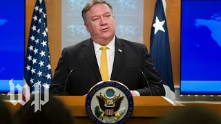 Pompeo speaks to reporters at the State Department - WASHINGTONPOST