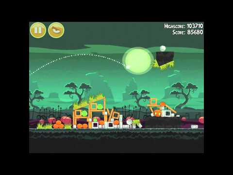 Angry Birds Seasons Ham'o'ween 2-14 Halloween 2012 Hamoween Walkthrough 3 Star