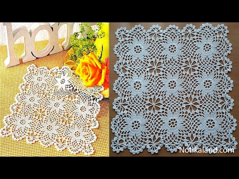 Crochet doily Crochet Motif for Doily Tablecloth Part 2 How to join motifs Border