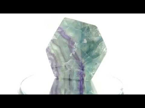 Natural Blue, Green, and Purple Fluorite Gem Polished Slab