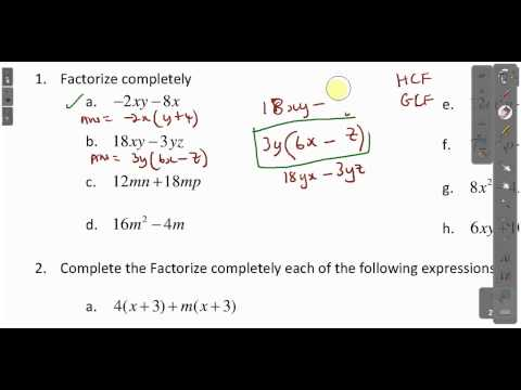 CXC CSEC Maths- How To Factorize Expressions Lesson 1