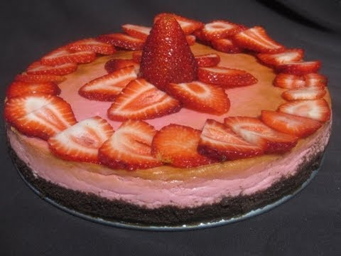 Pastel de queso con fresas   Strawberry cheesecake