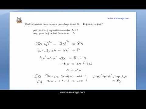Matematika za osmi razred - jedan zadatak zadan riječima sa testa - mat-8