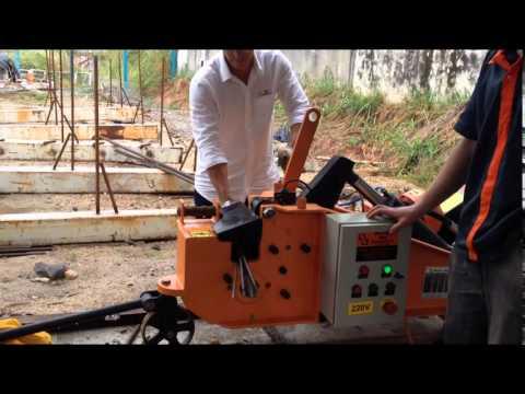 Testes da Máquina hidráulica de cortar e dobrar vergalhões (ferro para construção civil)
