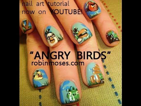ANGRY BIRDS FINGERNAIL DESIGN: robin moses nail art tutorial instruction how to
