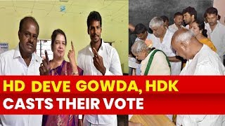 Lok Sabha 2nd Phase Elections 2019, Karnataka: HD Dewe Gowda, HD Kumaraswamy casts their vote - NEWSXLIVE