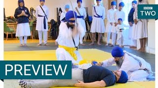 Gatka sword dancers slice a melon on Steve's body - Our Dancing Town: Episode 3 Preview - BBC Two - BBC