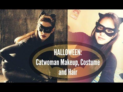 Maquillaje, DIY, disfraz y peinado (Gatúbela) / Halloween Catwoman Makeup, costume and hair