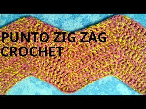Punto zig zag en tejido crochet tutorial paso a paso.
