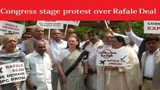 Rafale Saga Continues: Congress stage protest over Rafale Deal - NEWSXLIVE