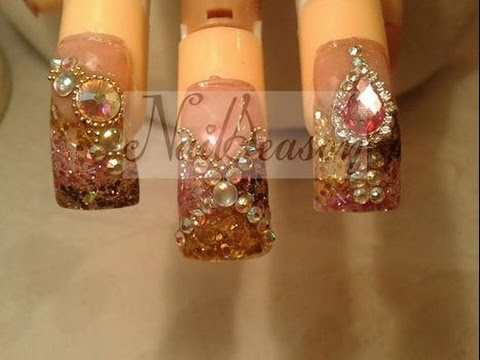 como decorar uñas con piedras (cristales) Uñas estilo sinaloa de acrilico 2014 - 2015