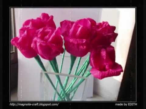 TUTORIAL róże z bibuły POLSKI.wmv