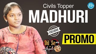 Civils Topper Madhuri Exclusive Interview - Promo | Dil Se With Anjali #58 - IDREAMMOVIES