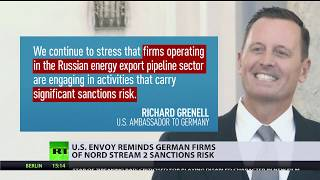 'Consider the danger': US ambassador threatens to sanction German Nord Stream 2 companies - RUSSIATODAY