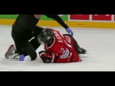 Alex Edler Kneeing on Eric Staal - Knee on knee Hit - Canada vs Sweden