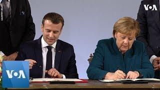 Merkel, Macron Sign Germany-France Friendship Treaty - VOAVIDEO