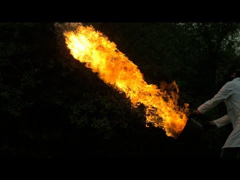 Setting objects on fire and kicking them into the air. In slo-mo