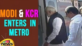 PM Modi And CM KCR Enters In Hyderabad Metro Rail | Mango News - MANGONEWS