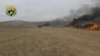 نشطاء يتداولون فيديو لحرق مقرات داعش فى البادية الشامية