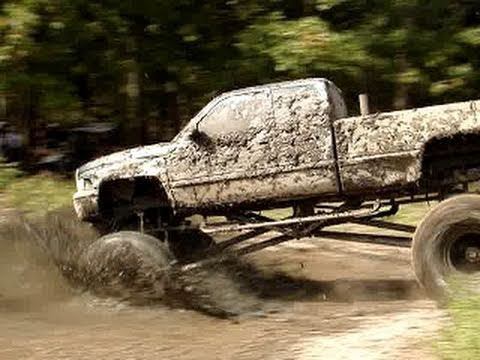"EPIC STUCK!! HUGE DODGE CUMMINS DIESEL 4X4 MUD TRUCK on 54"" BOGGERS!"