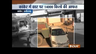 Chattisgarh: Army truck drags car with family inside (watch video) - INDIATV
