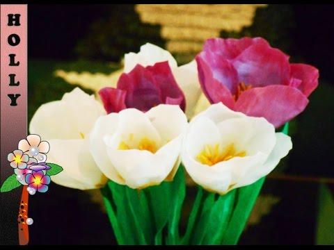 Цветы крокусы из бумаги, своими руками