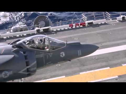 AV-8B Harrier Jump Jets Landing & Takeoff On Amphibious Assault Ship