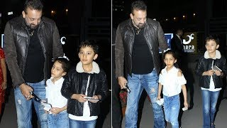 Sanjay Dutt spotted post dinner date with twins Shahraan and Iqra - TIMESOFINDIACHANNEL