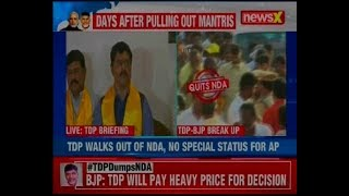 TDP leaders addresses the media in Delhi after exiting NDA, says 'BJP means 'Break Janta Promise' - NEWSXLIVE