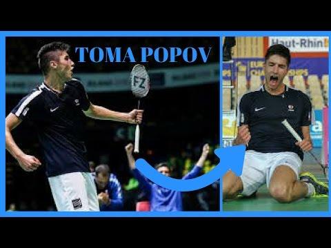 BEST RALLIES OF TOMA JUNIOR POPOV (18 years old) - Badminton Junior European Championships 2017