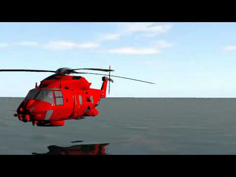 rescue helicopter in low flight - green screen effects