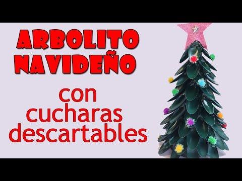 Manualidades para Navidad - Arbolito navideño con cucharas descartables