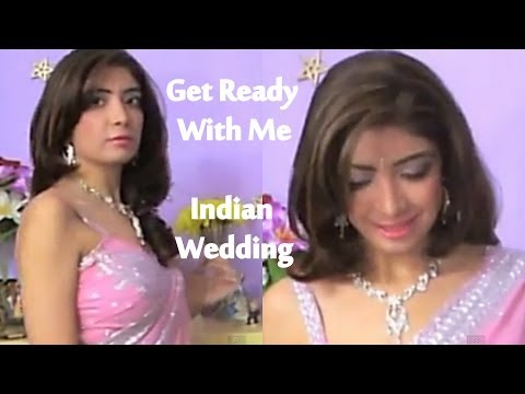 Get Ready With Me - Indian Wedding/Party | Bollywood Indian Makeup,Pink Saree,Desi OOTD,GRWM