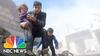Kids Rescued As Shelling, Airstrikes By Syrian Forces Kill At Least 98 In One Day | NBC News - NBCNEWS