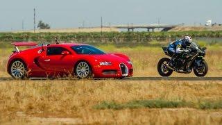 بالفيديو.. «بوجاتي فيرون سوبر سبورت» تخسر سباق أمام دراجة نارية