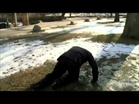 Zak Bagans slips on ice