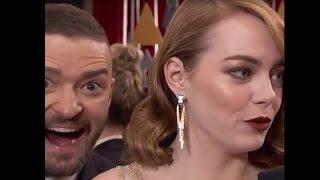 Oscars 2017: Emma Stone Photobombed by Justin Timberlake the Oscars Red Carpet | ABC News - ABCNEWS